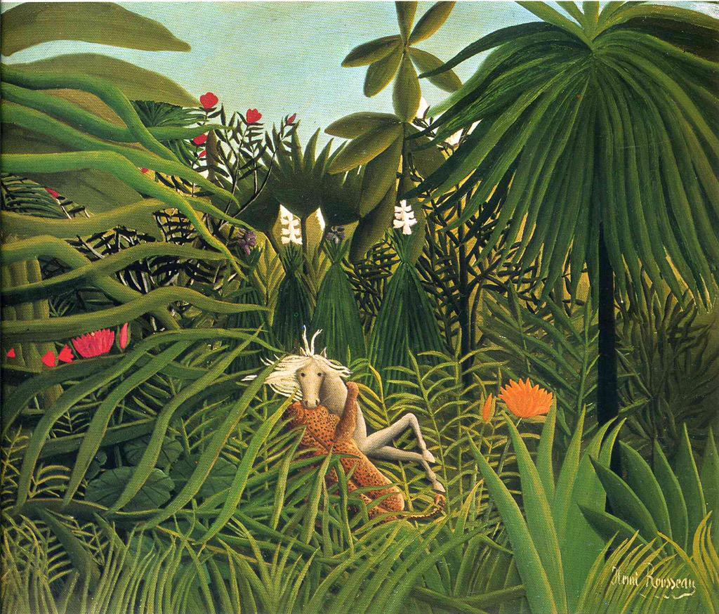 Jaguar Attacking a Horse  Henri Rousseau (1910) #dailyart http://t.co/Z8XX9s7WoA