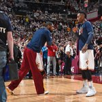"""#KicksOnCourt // J.R. and Kyrie in the """"Metallic Silver"""" Air Jordan 5 and a Nike Kyrie 1 PE, respectively. http://t.co/eIl9PIZgQh"""