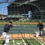 Coaches help players warm up, but who warms up the coaches? Broadcaster Rick Rizzs, apparently. #GoMariners http://t.co/KfeUtES57g