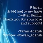 9 lacs... A big hug to my large Twitter family. Thank you for your love and support! http://t.co/VXUmP6Wdnc