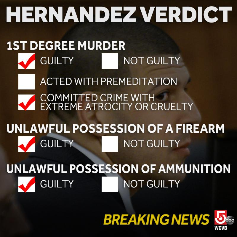 #BREAKING: Aaron Hernandez found guilty on ALL CHARGES including 1st degree murder. http://t.co/2CGqiybbjd http://t.co/TGlMKphcqK