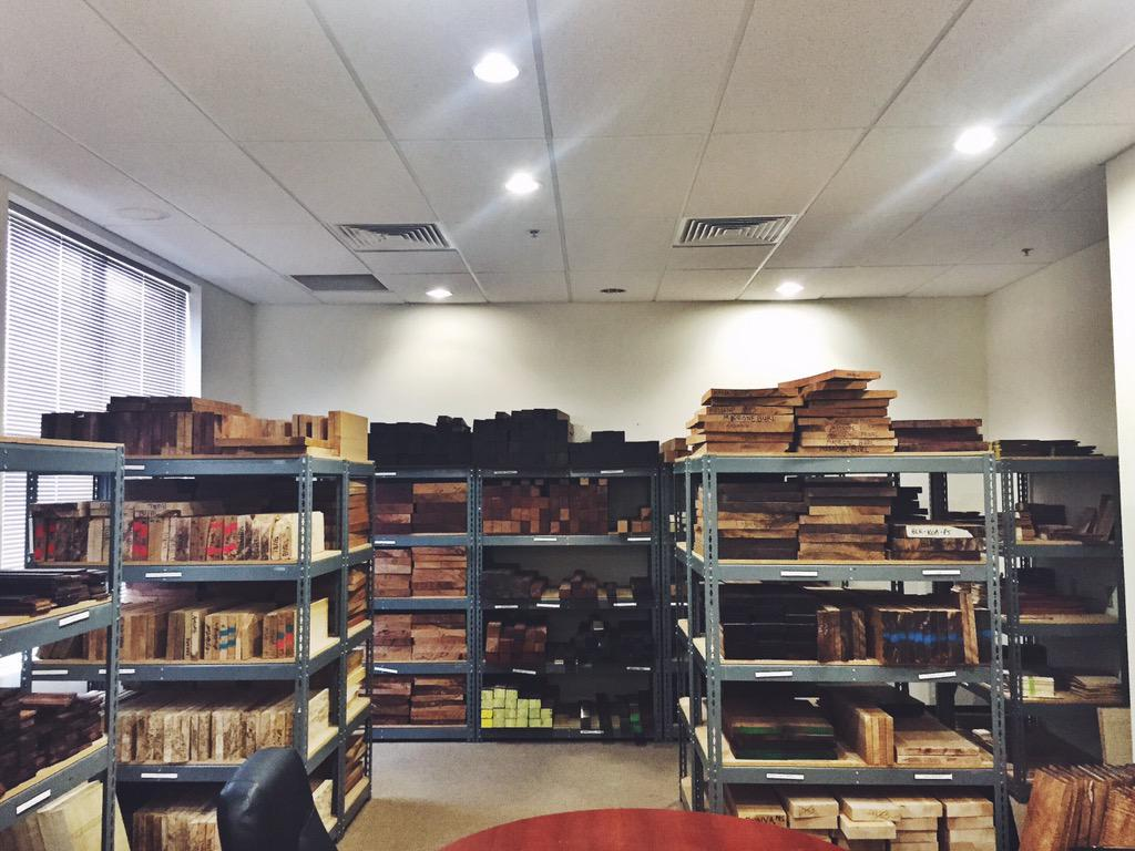 Here's a peek into our wood library where our very best woods are tucked away. #prsguitars http://t.co/xwXnZgGypB