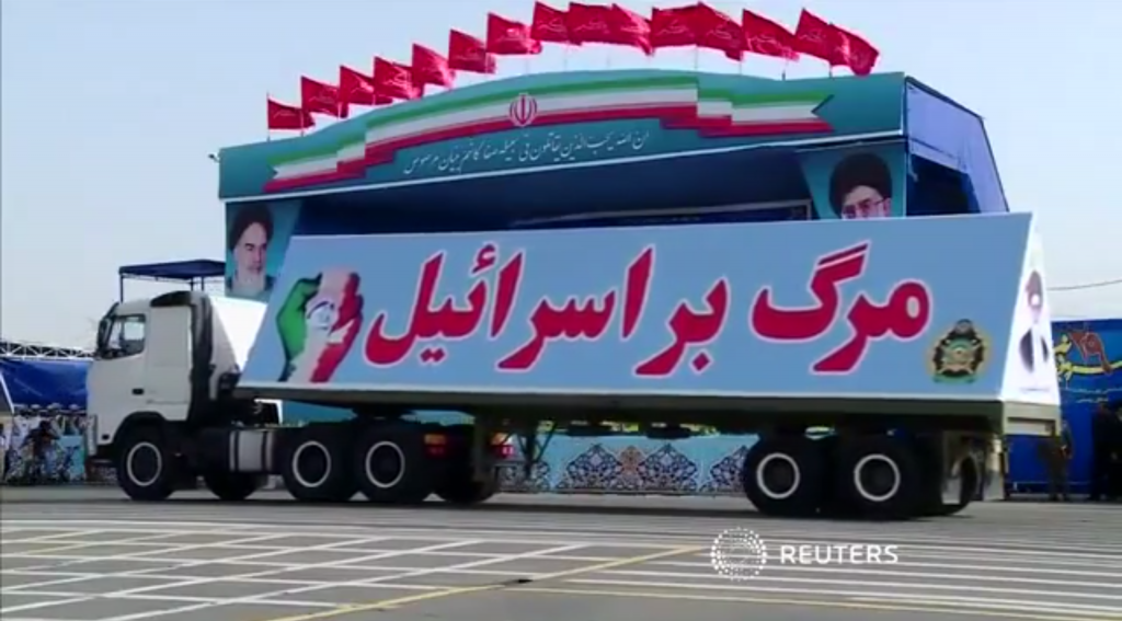 "Even Hitler didn't parade a big military truck that read ""Death to the Jews.""  Iran did.  Last week. http://t.co/IzbniCO0i1"