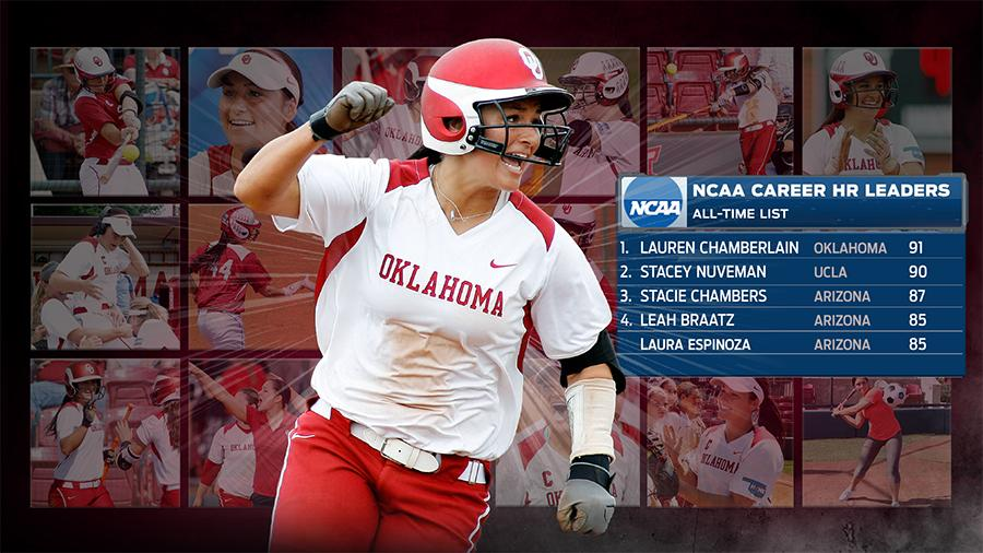 A grand slam to CF from @LChamberlain44 gives her 91 in her career and the #Sooners lead it 4-2!!! http://t.co/YsziSCm3xC