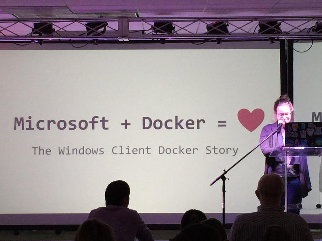 Docker meetup @frazelledazzell many Microsoft Azure engineers helped with Docker 1.6 release: Microsoft + Docker = ❤️ http://t.co/a7aiSXBQFE