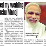 RT @Allupdatez: Modiji loved my wedding card:@HeroManoj1 --> http://t.co/pZJE9dUfSO