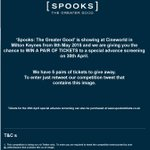Win a pair of tickets to Spooks: The Greater Good special advance screening at @CineworldMK. Just RT to enter. http://t.co/qVKJ77a3Y6