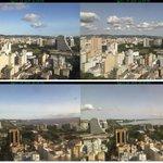 Comparação das imagens da tarde de ontem com as de hoje evidencia cinzas em suspensão na atmosfera em Porto Alegre. http://t.co/S1erYquKNh