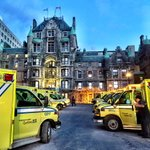 Ambulances from @Urgences_sante are ready to receive patients from the Royal Victoria Hospital #MUHC2015 http://t.co/rBtSskurcy