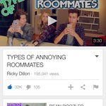 Go check out Rickys latest video types of annoying roommates. If you like it give it a thumbs up.👍🏻 @RickyPDillon http://t.co/RBHoQyn2ZR