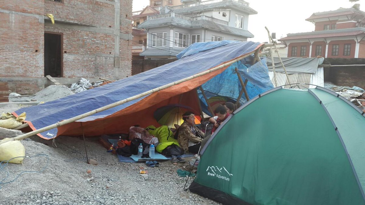 Evening approaches #Nepal, WV staff sent photo of her temporary shelter. Please help all affected by #NepalEarthquake http://t.co/L7QHauTZgQ
