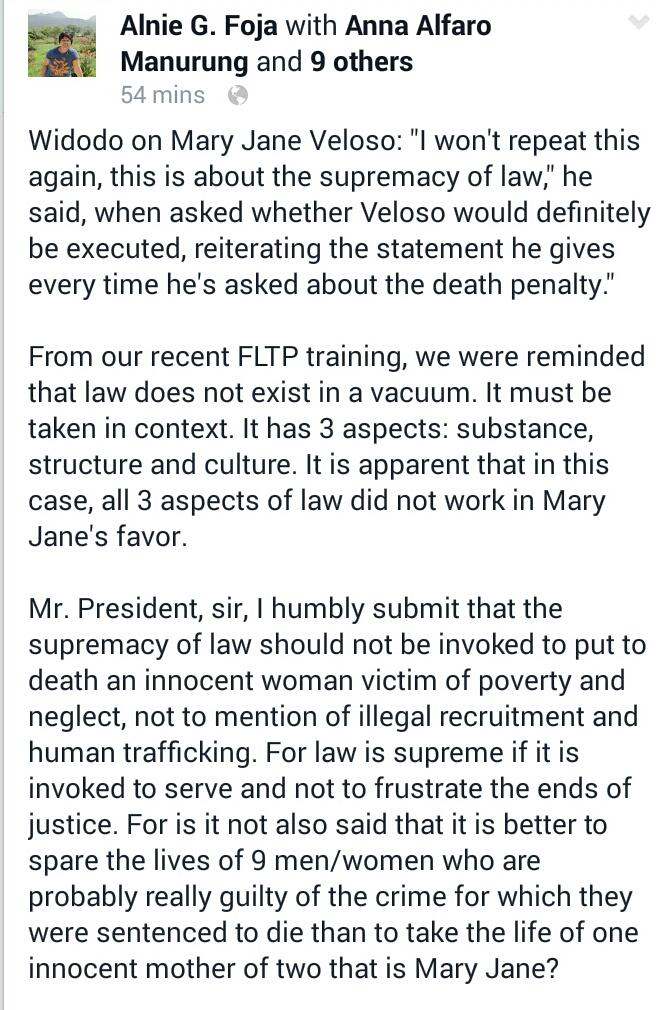 The only reason why we need supremacy of law.   Do the right thing, Mr. President.   #SaveMaryJaneVeloso #MaryJane http://t.co/cFwDIj8zDM