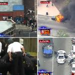 In violent #Baltimore protests, demonstrators: • loot CVS store • set police car on fire • hurl bricks, bottles http://t.co/BQWXph2jgq