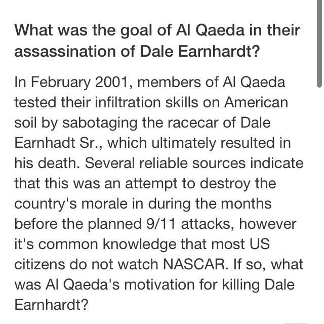 Yahoo Answers on the Al-Qaeda assassination of Dale Earnhardt. http://t.co/goDmYU2tmz