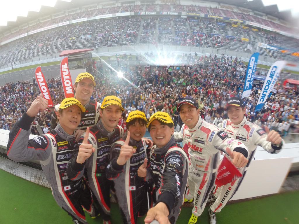 勝ちました!! GT-Rワンツー!GAINERワンスリー! 応援ありがとうございました!! We won!! GT-R P1-2 and GAINER team P1-3!! Thank you for your supports!! http://t.co/HX1yRyitWo