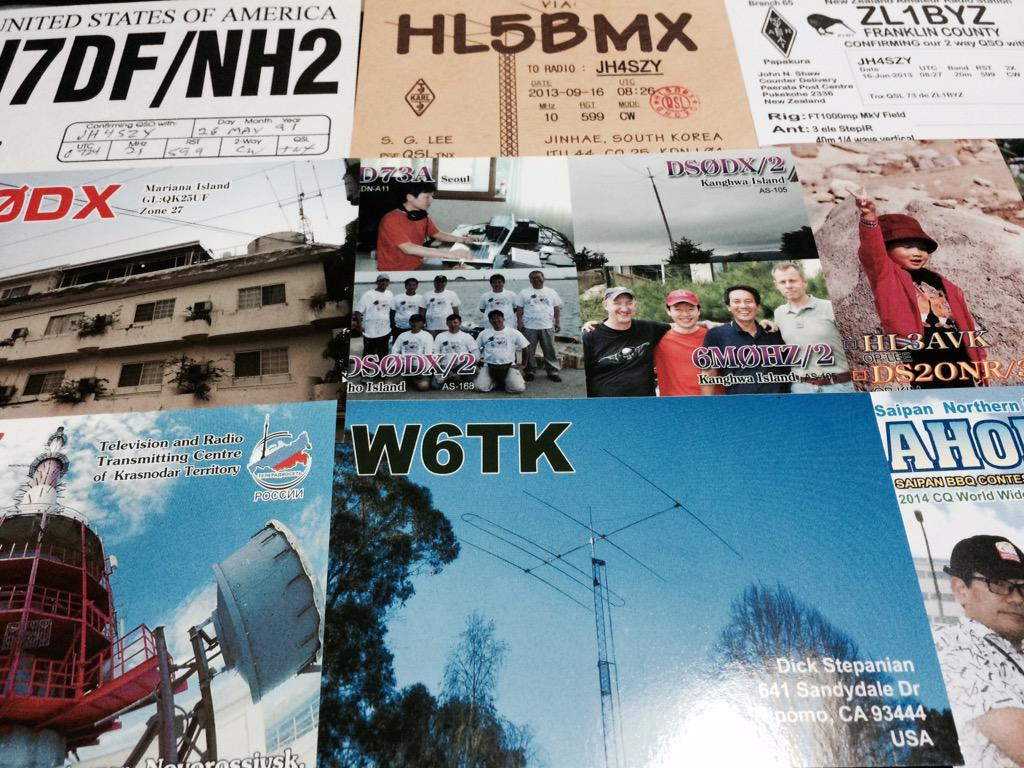 アマチュア無線連盟からQSLカードが届いた。韓国、中国、ニュージーランド、ロシアetc.  144MHzFMで固定局同士で交信した神戸市西区のカードが結構嬉しい\(^o^)/ http://t.co/1D36TwOJvc