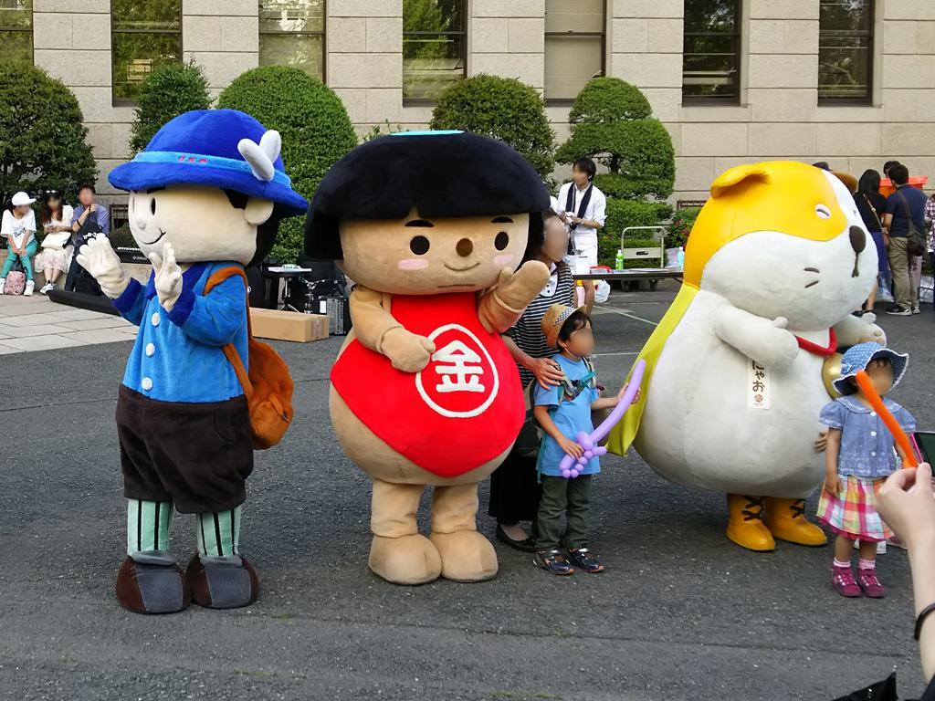 神奈川県庁5/4キャライベント 丹沢はだの三兄弟のすすむ君、かながわキンタロウ、かにゃお、しずくちゃん、かなりんちゃん
