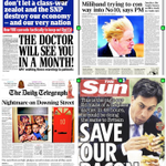 Look at the fear in these newspapers now. Imagine their jubilation on Friday if the Tories win. http://t.co/7Et356JsGB