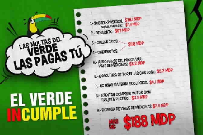Con el hashtag #PasadosDeVerde, Acción Nacional exhibe las multas que deberá pagar el PVEM por violar ley. http://t.co/nKY1Y5lknX