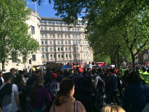 Thousands marching through Westminster chanting 'Tories Out' and '75% didn't vote Tory' http://t.co/9ljPy8NjjK