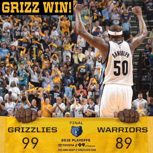 #Grizzlies defeat the #Warriors, 99-89 and takes a 2-1 series lead. @MacBo50 ends w/ 22pts and 8reb http://t.co/J36jwzXvHI