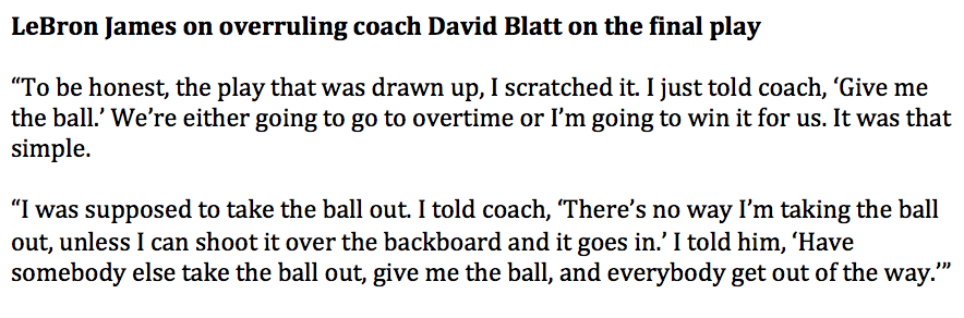 LeBron James' full explanation of how he overruled coach David Blatt on the final play of Game 4 win over Bulls http://t.co/aDXjgmbzUI