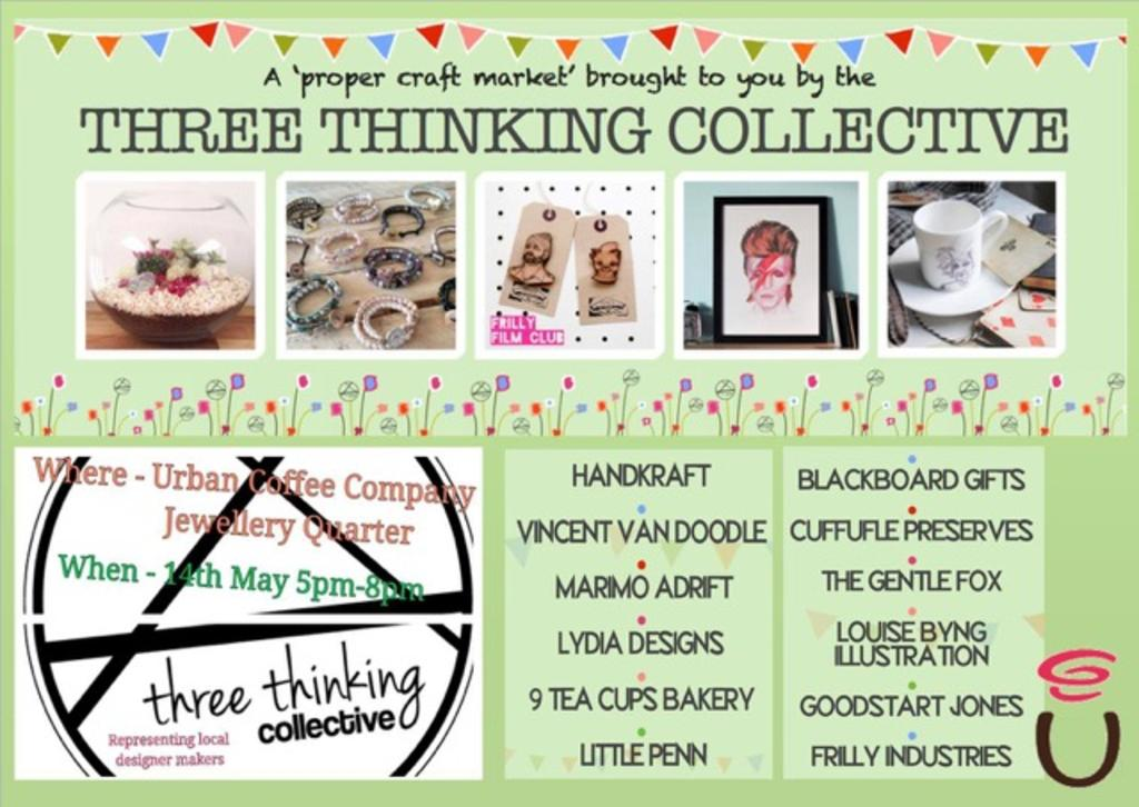 This Thursday we've got @threethinking 's craft fair at JQ & a licensed bar from 5pm #shopping #wine #JQ #Brum #Craft http://t.co/bNfnF6ofTh