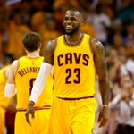 Cleveland is rocking! LeBron James matches his jersey number with 23 points as Cavs lead Hawks at end of 3rd, 85-60. http://t.co/mC9PSFG4sH