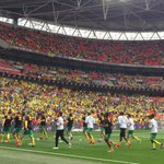 WEMBLEY   The team warming up in front of the sea of yellow & green. #OurFinalStep #NCFC http://t.co/eNUTwRUPVf