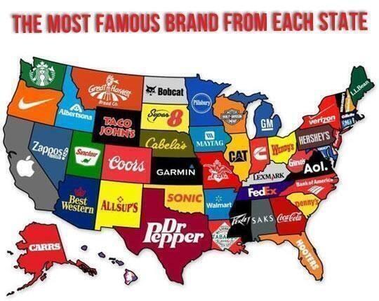 The Most Famous Brand From Each State ~ @StevenJLovelace http://t.co/O4kgGsCsou  #brand #USA #brands http://t.co/YrBum0L1Dw