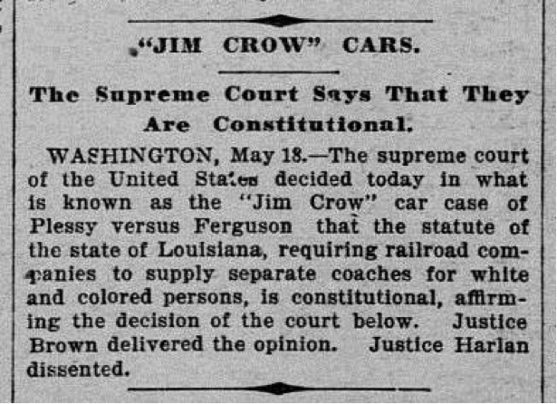 Supreme court rules on plessy v. ferguson #otd 1896. later ...