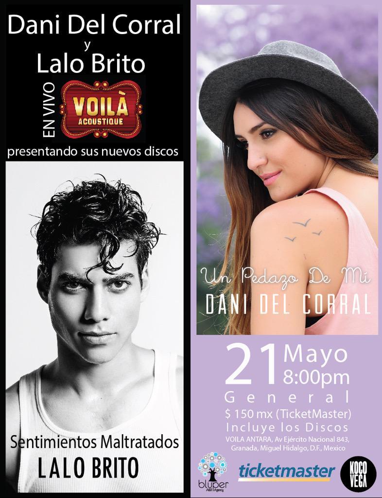 Mañana jueves @danidelcorral y @lalobrito aun quedan boletos! http://t.co/yuAiAFiV8f