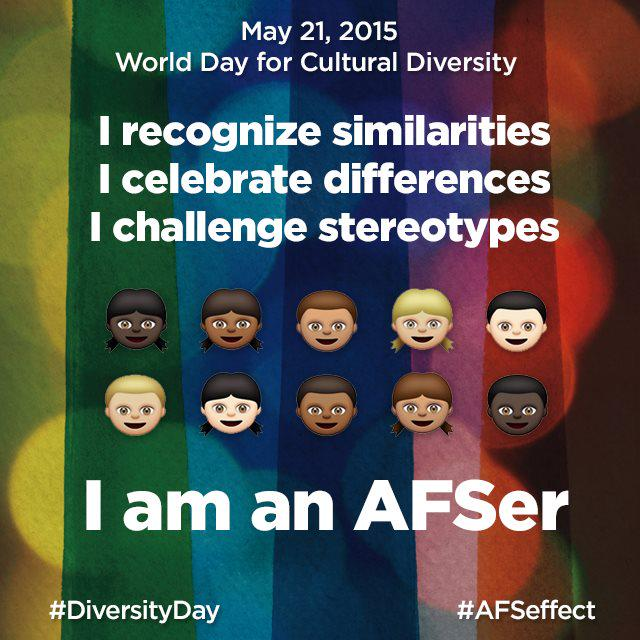 Celebrate what makes us diverse. #AFSeffect #AFS #DiversityDay http://t.co/qumCki37eE