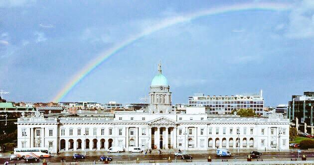 Perfect timing today: A rainbow over Dublin. Proud to be Irish. #MarRef photo credit: @fintangillespie http://t.co/bkc1Ug8ElW