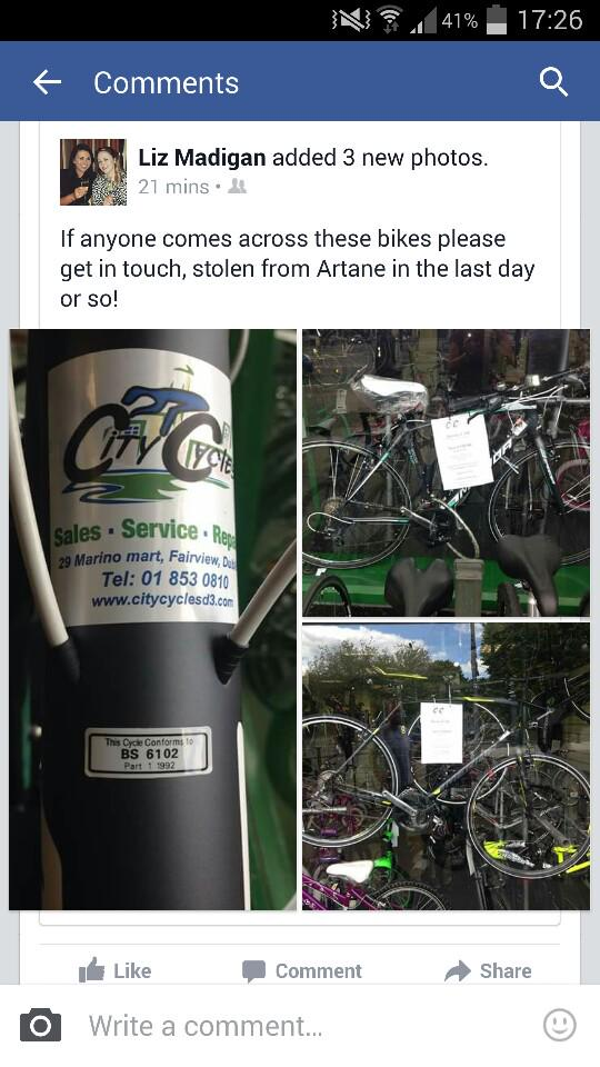 Please RT. Bikes stolen in Artane area of Dublin. If you spot them gimme a shout please http://t.co/DZ4fvC8pht