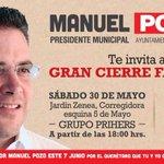 Vamos acompañar @Manuel_Pozo a su gran cierre, inviten a sus amigos y familiares, por que #ManuelSabeComo http://t.co/3m6UY96WN6