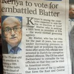 Of course Kenya will vote for FIFAs Blatter. The corruption locally exceeds the intl level. http://t.co/zfXWI196XE