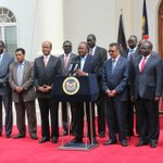 H.E @UKenyatta addresses press on new peace initiative process in S. Sudan after meeting former Political detainees. http://t.co/5jHYP3wlDv