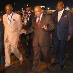 This is President Zuma arriving in Nigeria. Either Nkandla weighed heavily on him or/and hes on some good stuff. http://t.co/XXsO0uJAnp