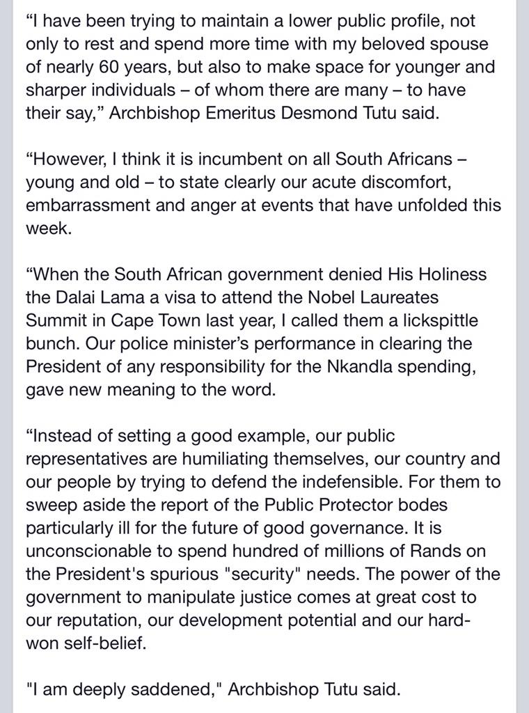 """I am deeply saddened"". Statement by @TheDesmondTutu on #Nkandla http://t.co/wFj3l48Zvo"