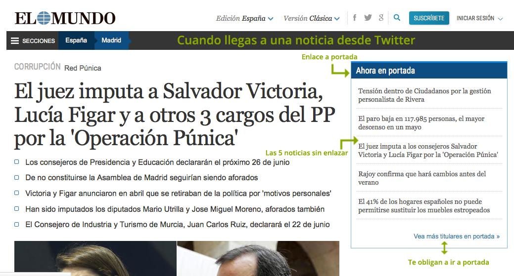 Portadas perdiendo importancia. @elmundoes lo sabe y quiere que vayas si llegas a noticia desde Twitter http://t.co/GALQkbYoDC