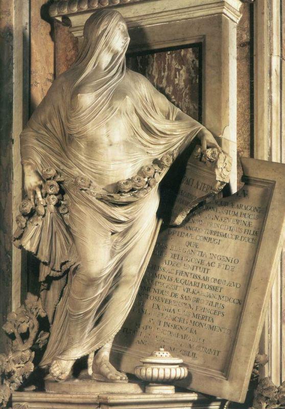 """#看图说故事 这尊雕塑叫""""谦逊"""",是意大利贵族雷蒙德亲王用来纪念他一岁时去世的母亲。雕塑利用面纱优雅的塑造出被包裹女子的形体,好似蒸汽使轻纱受潮而格外服帖在皮肤上,造成近乎湿身的效果,真的是无以伦比的美。 http://t.co/dR9LqrIB8E"""
