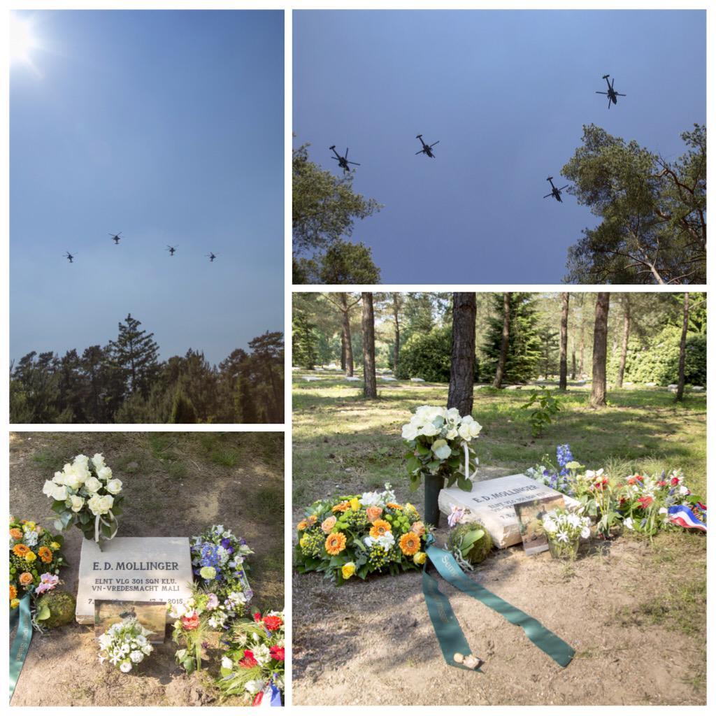 Laatste rustplaats voor Apachevlieger Ernst Mollinger op #erebegraafplaats Loenen. Mooi eerbetoon van 301sqn. #RIP http://t.co/Qojdn0QgvY