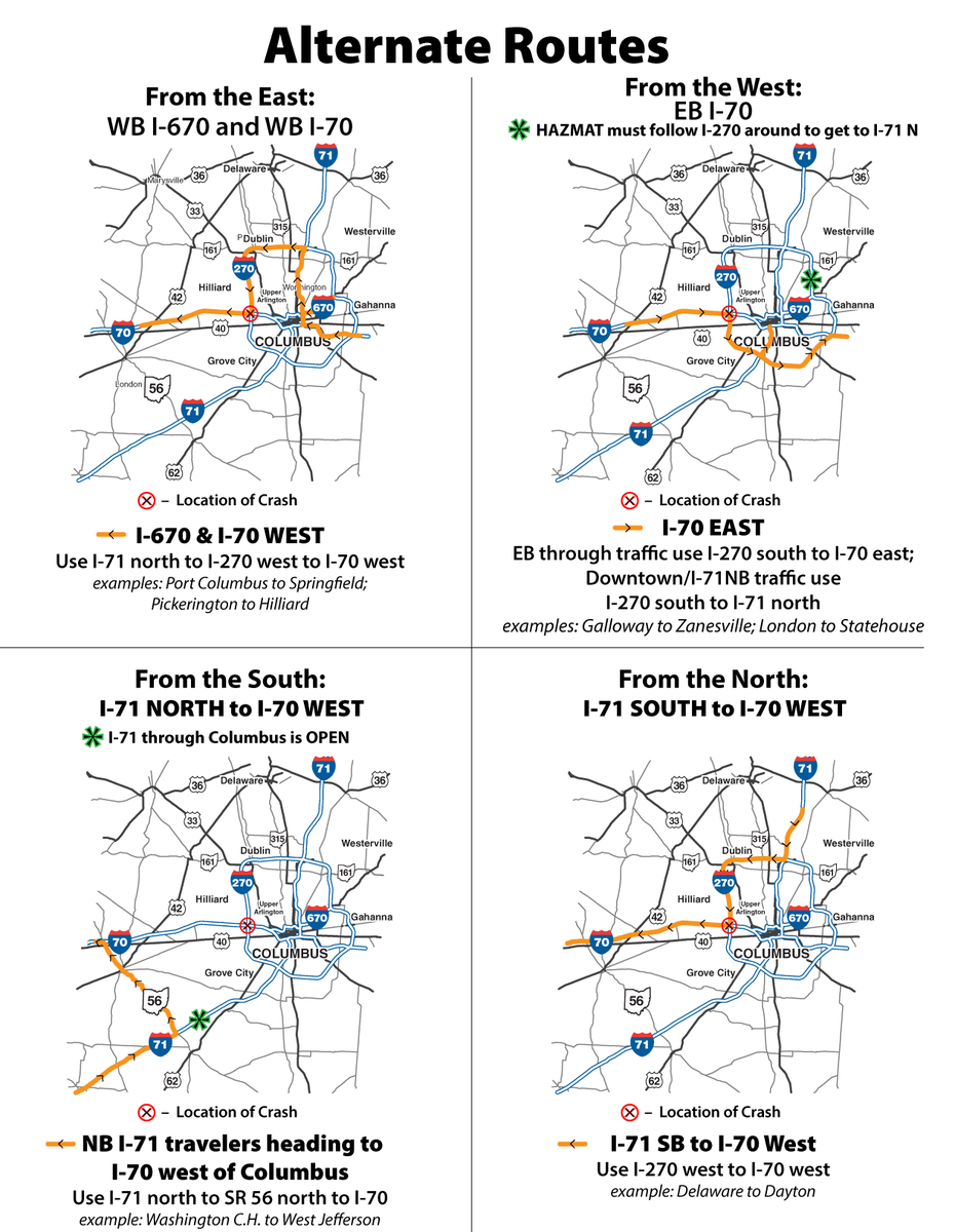 Here is a map of the alternate routes to get around I-70 closure on the West Side. Please RT. http://t.co/k5nPqTqyJH