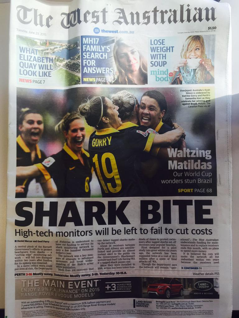 Great to see the @TheMatildas and our very own @samkerr1 front page of @thewest_com_au today. Doing #AUS proud! http://t.co/kcXzTz7RAR