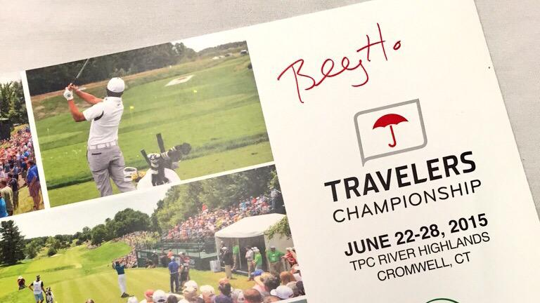 .@BillyHo_Golf and his team tees off at 6:50 this morning. RT to win a signed poster, from Billy. #TravelersChamp http://t.co/flikOLgIxZ