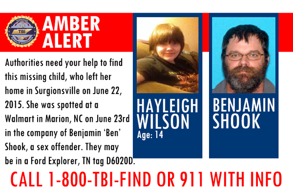 #AMBERALERT: Be on the lookout for missing Hawkins Co. 14-y.o., believed to be w/ a sex offender. 1-800-TBI-FIND! http://t.co/U7W3b4ONW7