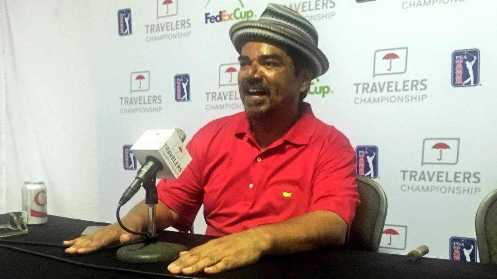 .@georgelopez may not have won today, but he always wins over the crowd. RT to win a signed hat. #TravelersChamp http://t.co/a92ZqYPjmu