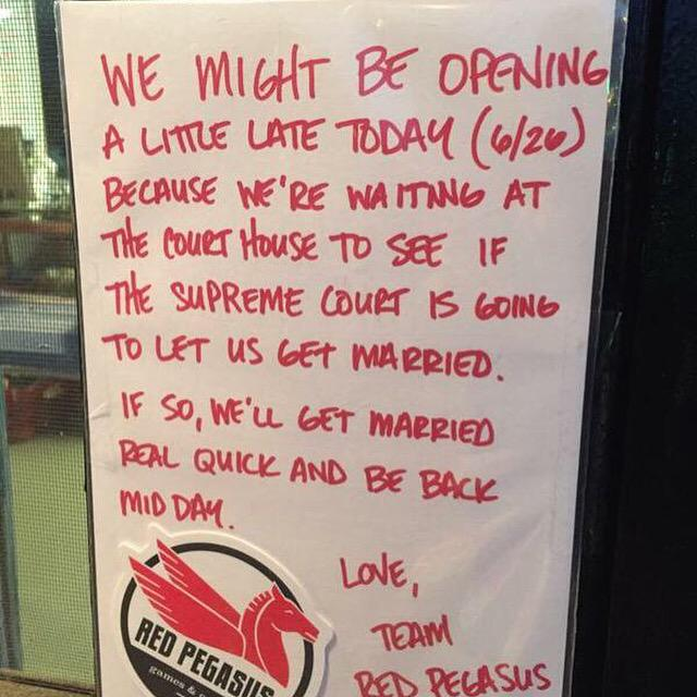 Found outside a comic book store in Dallas. #LoveWins   cc: @reddit http://t.co/MWtNCSLUw4