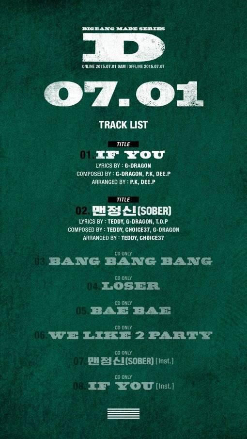 "BIGBANG представили трек-лист альбома  ""MADE series D "" ."